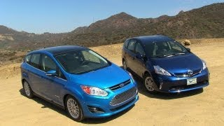 2013 Ford C-MAX Vs Toyota Prius V Hybrid Mashup Review