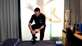 Tom, a myPhysioSA Associate Physiotherapist at the North Adelaide clinic, demonstrates how to properly fit an ankle brace ready...