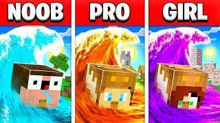 NOOB vs PRO vs GIRL FRIEND TSUNAMI MINECRAFT HOUSE BUILD BATTLE! (Building Challenge)