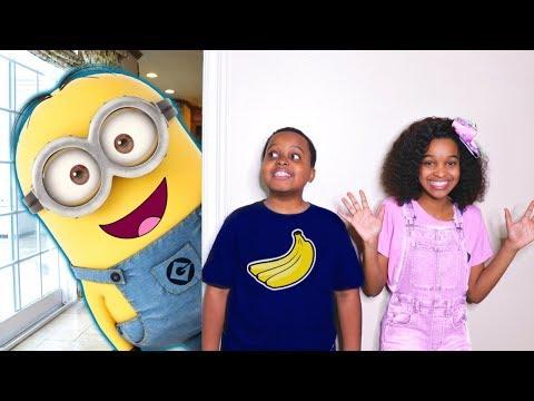 HUGE Minion vs Banana Costume - Shasha And Shiloh - Onyx Kids