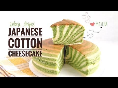 cheesecake soffice giapponese effetto zebra alla polvere di matcha