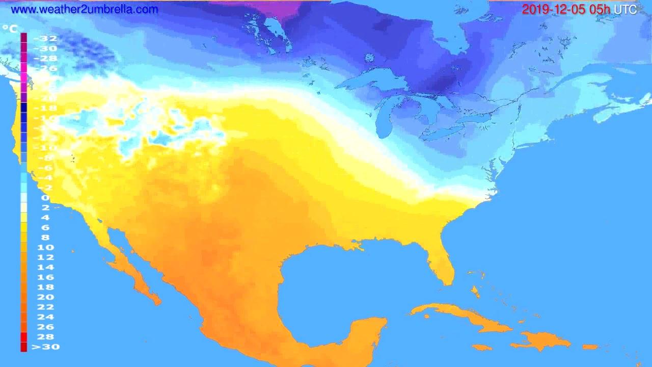 Temperature forecast USA & Canada // modelrun: 12h UTC 2019-12-03