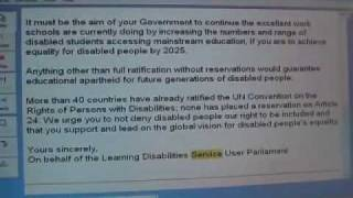 On 17 February 2009 I asked the North East Learning Disability Parliament to sign Tara Flood's petition to Gordon Brown and the...