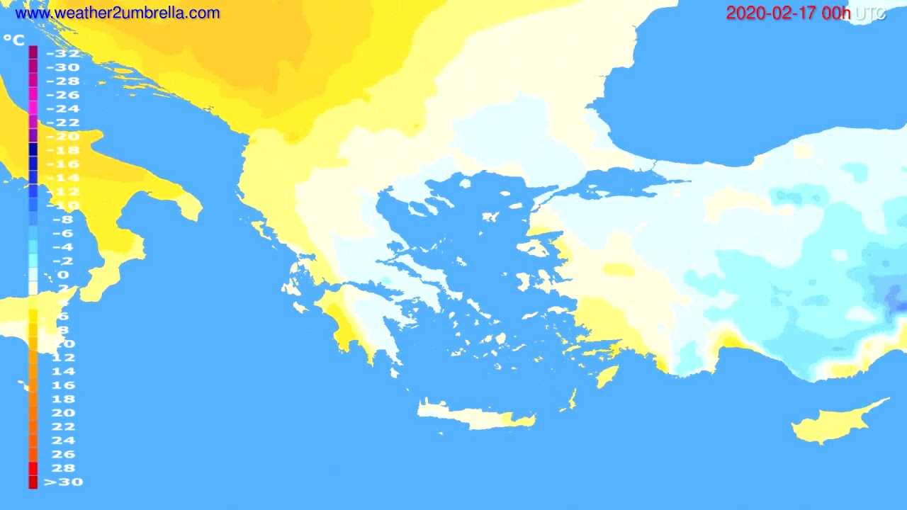 Temperature forecast Greece // modelrun: 00h UTC 2020-02-16