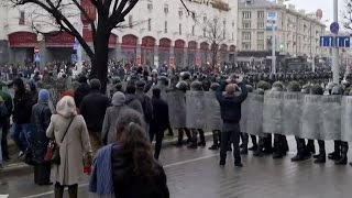 Dozens of protesters have been detained following an unauthorized opposition protest, dubbed 'Freedom Day,' in Belarus' capital...