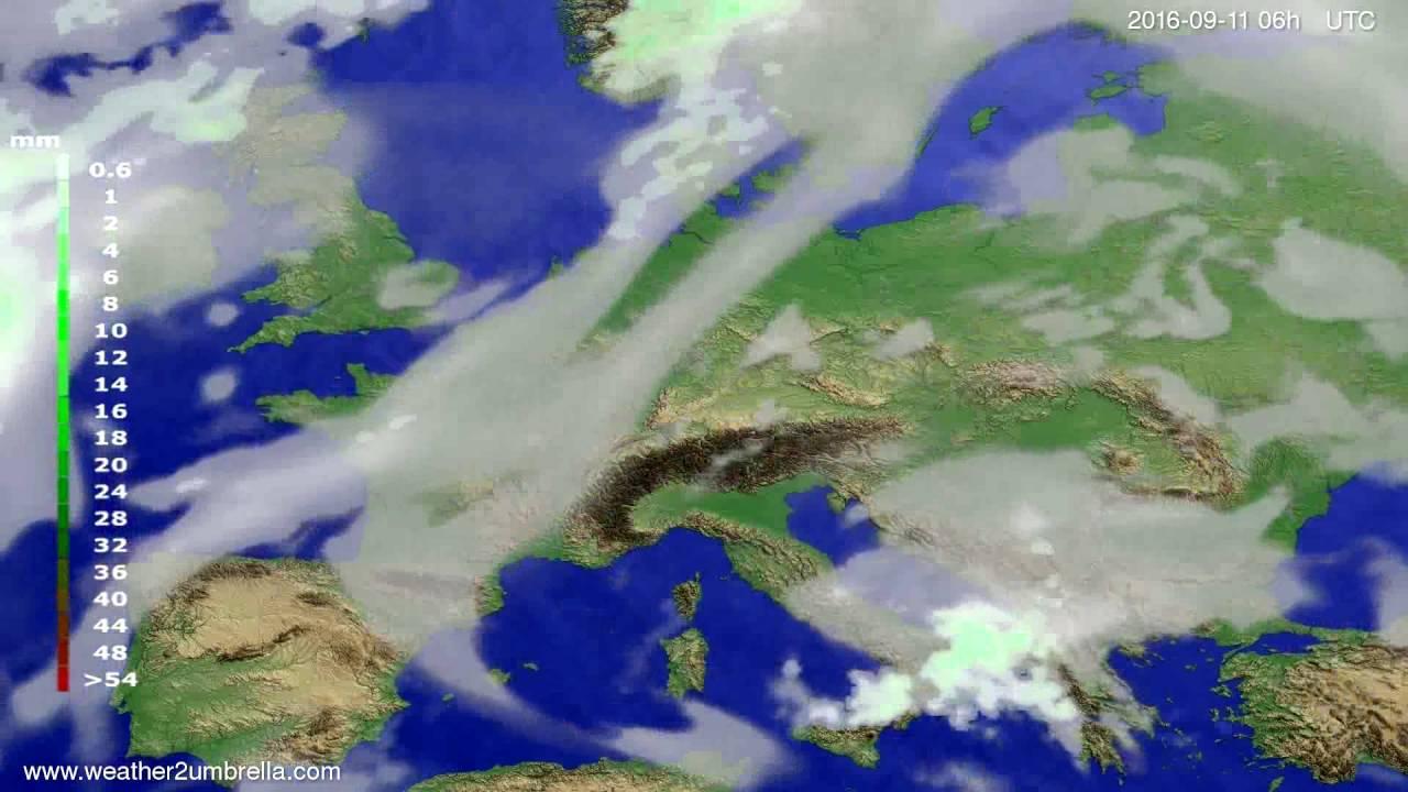 Precipitation forecast Europe 2016-09-08