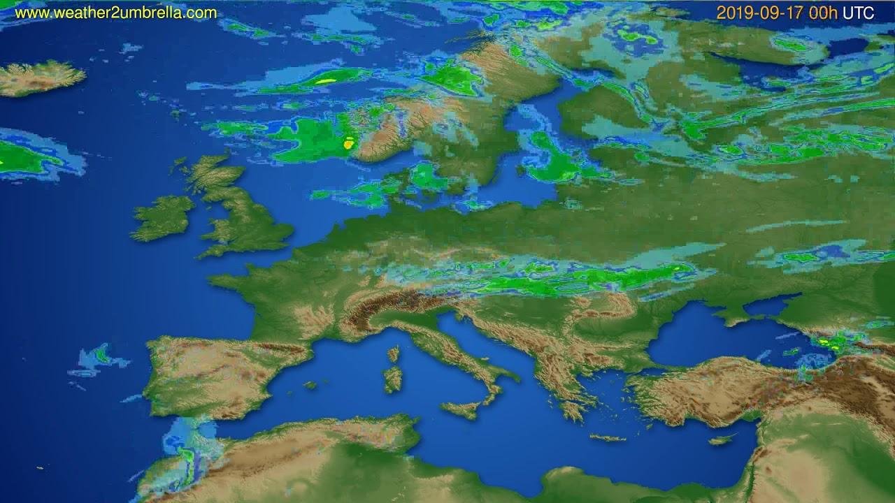 Radar forecast Europe // modelrun: 12h UTC 2019-09-16