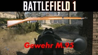 """The (German: Infanterie Repetier-Gewehr M1895; """"Infantry Repeating-Rifle M1895"""") was the basic variant. It was chambered for the 8×50mmR Mannlicher cartridge. Its iron sights were graduated 300–2600 paces (225–1950 m). It was used during World War I by majority of the Austro-Hungarian Army troops.StutzenThis stutzen or short rifle (official designation German: Repetier-Stutzen M1895; """"Repeating-Stutzen M1895"""") was mainly used by special troops (i.e. Storm troops) during World War I. It chambered the 8×50mmR Mannlicher cartridge. Its sights were graduated 500–2400 paces (375–1800 m).Weight: 3.09 kilograms (6.8 lb)Length: 1,003 millimetres (39.5 in)Barrel length: 500 millimetres (20 in)Carbine[edit]The carbine (official designation German: Kavaliere Repetier-Carabiner M1895; """"Cavalry Repeating-Carbine M1895"""") was chambered 8×50mmR Mannlicher and used by cavalry units of the Austro-Hungarian Army as a replacement of the Mannlicher M1890 carbine. The sights were graduated 500–2400 paces (375–1800 m). Although it originally didn't have bayonet lugs, during World War I it was fitted with stutzen-like front barrel band with bayonet lugs after mounted cavalry units were found ineffective.The Mannlicher M1895 (German: Infanterie Repetier-Gewehr M.95, Hungarian: Gyalogsági Ismétlő Puska M95; """"Infantry Repeating-Rifle M95"""") is a bolt-action rifle, designed by Ferdinand Ritter von Mannlicher that used a refined version of his revolutionary straight-pull action bolt, much like the Mannlicher M1890 carbine. It was nicknamed the Ruck-Zu(rü)ck (German slang for """"back and forth"""") by Austrian troops and """"Ta-Pum"""" by Italian troops who even wrote a song about it during World War I.The M1895 is unusual in employing a straight-pull bolt action, as opposed to the more common rotating bolt-handle of other rifles. It is consequently renowned for combining a high rate of fire (around 30–35 rounds per minute) with reliability and sturdiness, although this requires decent care and maintenance """