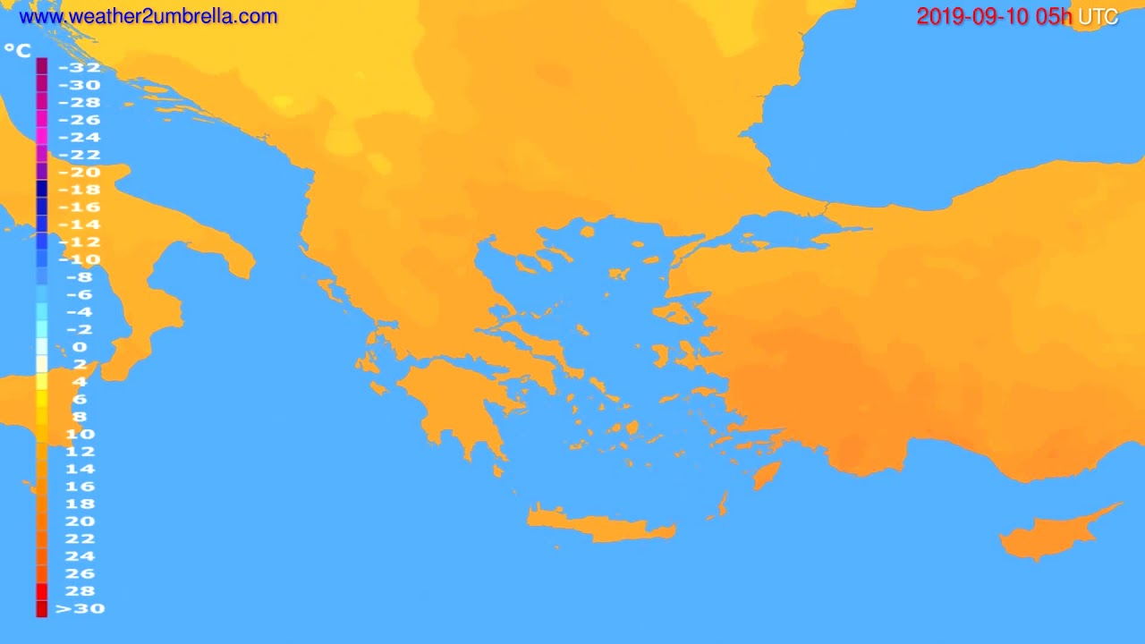 Temperature forecast Greece // modelrun: 00h UTC 2019-09-08