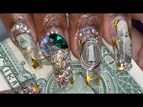 Gel nails - Acrylic Nails Tutorial  Money Nails  Encapsulated Nails