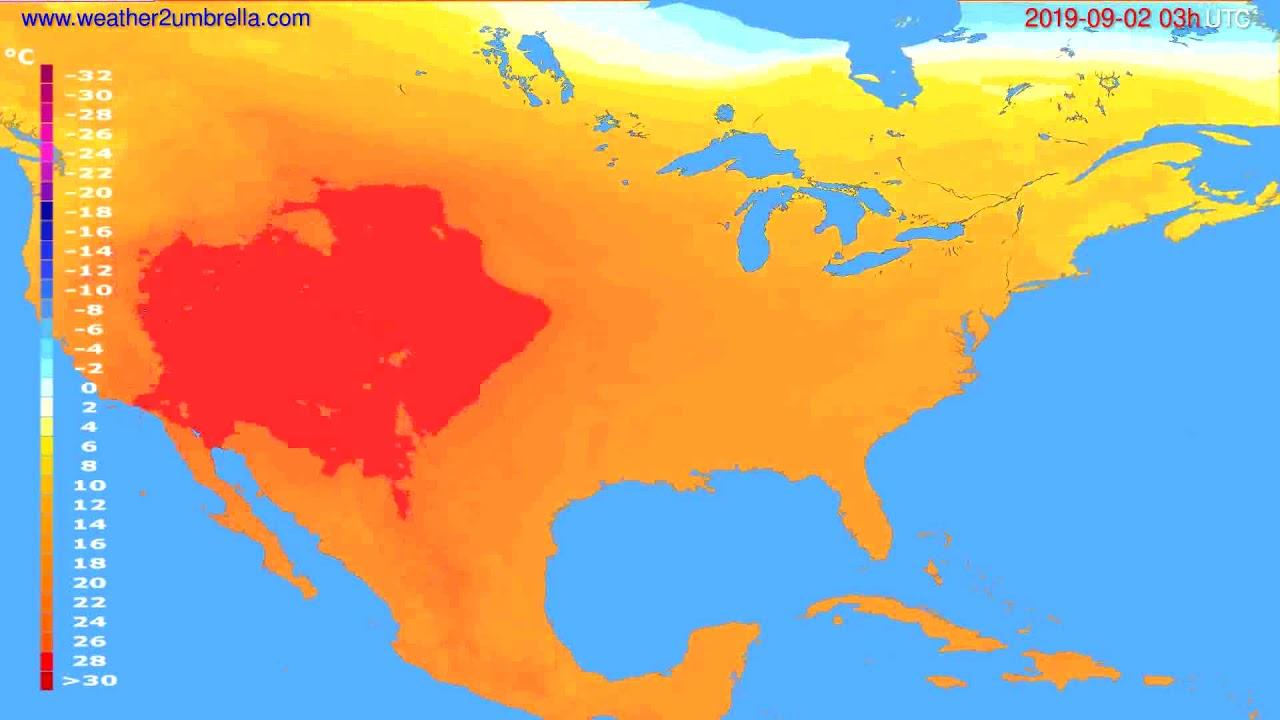 Temperature forecast USA & Canada // modelrun: 00h UTC 2019-08-30