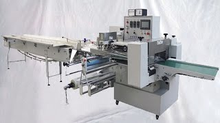 The machine is wholly PLC controlled . Parameters are set up directly through touch screen. temperature PID control modeenables precision within±1℃. In accordance with food industrial need, we add units of nitrogen charging, corner folding, double chain rows, and free-falling deoxidizer groove,to fully meet customers' individualized need.basic parameter of YX-450 Double faced Adhesion Band horizontal packing machine tapes packer flow wrapper آلة التغليف تدفق:Model YX-450 Horizontal packing machineFilm width Max.400mmBag length 130-450mmBag width 50-180mmProduct height Max.75mmMax width of roll film max.320mmPacking speed 30-150bag/minPower 220V,50/60Hz,2.8KWMachine size(L*W*H) 4300*1220*1500mmMachine weight 1050kgOption of flow wrapping machine pillow type:1, inflatable device ( nitrogen, air, oxygen, etc.)2, even the package (bag pack Such as Mimi bag)3, the flower/flat cutter (end seal sealing way)4, all stainless steel (201 stainless steel, stainless steel 304)5, code printer (hot print production date, batch number)6, exhaust device (vent air bag redundant)7, punching device (round hole, pinhole, convex hole)8, spray device (alcohol, fresh gas)Features of horizontal food packing flow pack model YX-450:►The mechanical transmission system USES a differential mechanism and automatic transmission, and other types of cancelled this two kinds of mechanical structure. Is the most widely used in various fields of a packaging machine.►The machine control by PLC, frequency control, the control panel adopts touch screen control, all parameters of the visual display on the screen, reduced the point of failure, and has the function of fault detection, realize the man-machine dialogue.►Main electric components: PLC, inverter, touch screen, temperature control module adopts the international first-class brand components, high quality to ensure the stability of the whole machine performance.►On a touch screen realizes PID temperature control mode, can make the accurate temperat