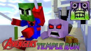 Monster School : AVENGERS COOL TEMPLE RUN CHALLENGE with CAPTAIN MARVEL! - Minecraft Animation