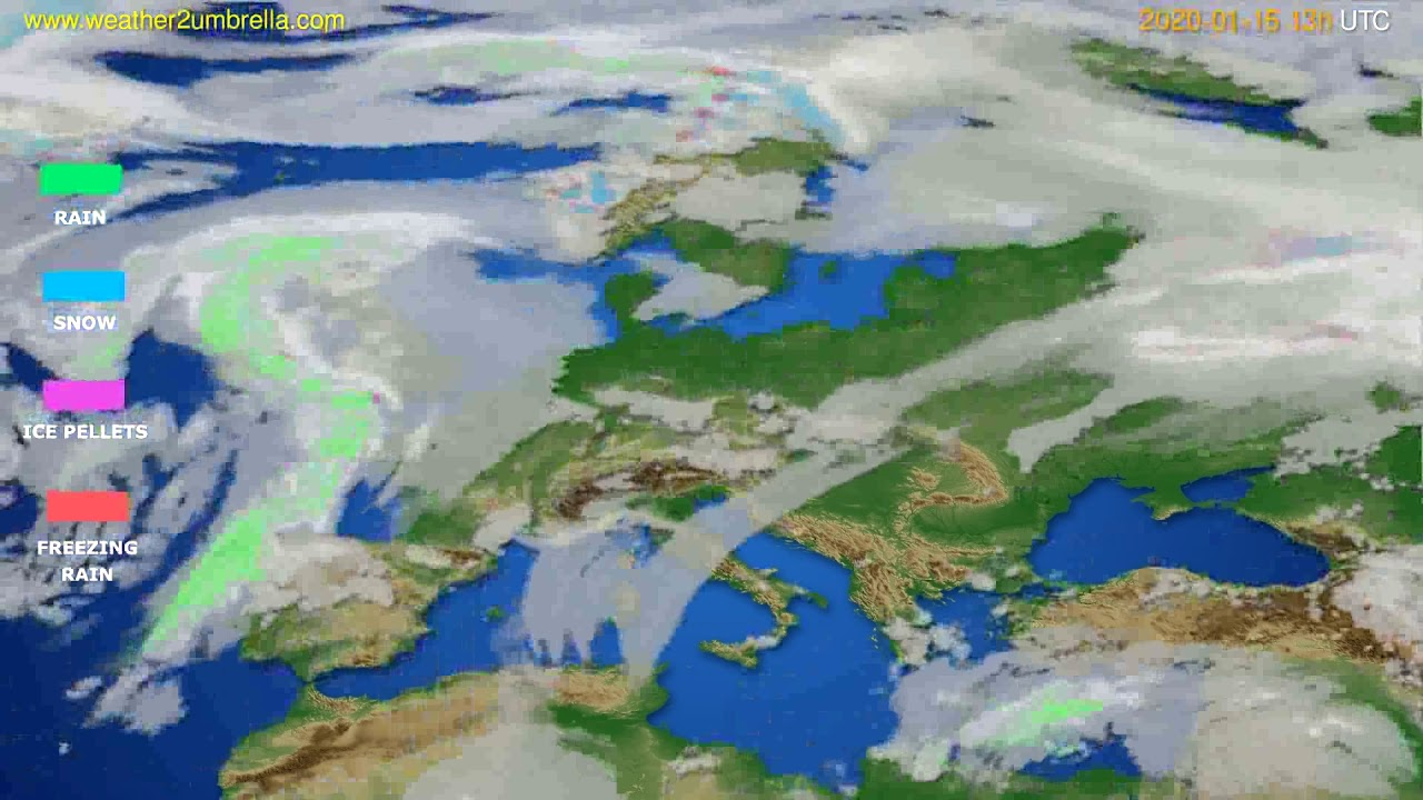 Precipitation forecast Europe // modelrun: 12h UTC 2020-01-15