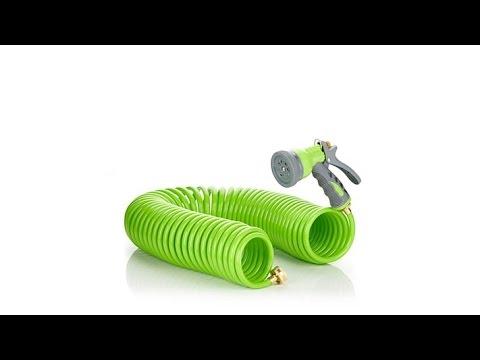 HGTV HOME 50' Retractable Coil Hose Green