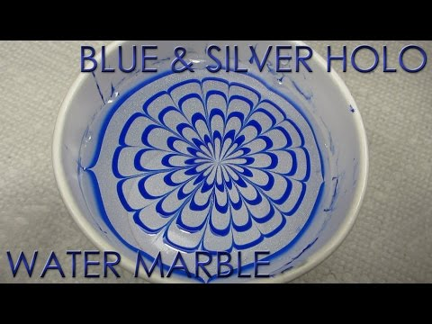 Blue & Silver Holo Water Marble | 12 Days of Christmas Nail Art | DIY Tutorial (видео)