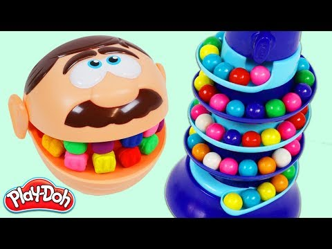 Feeding Mr. Play Doh Head Rainbow Gumballs from Dubble Bubble Candy Dispenser!