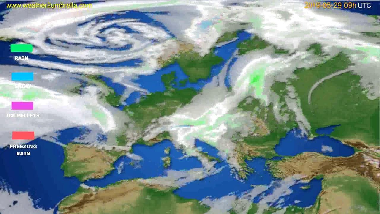 Precipitation forecast Europe // modelrun: 12h UTC 2019-05-27