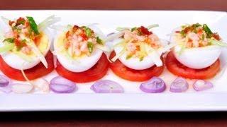 [Thai Food] Mango Spicy Salad With Soft Boiled Eggs  (Yum Ma Muang Khai Yang Ma Toom)