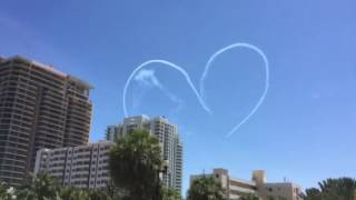 Jets over lauderdale Beach making hearts during the FT Lauderdale Air Show