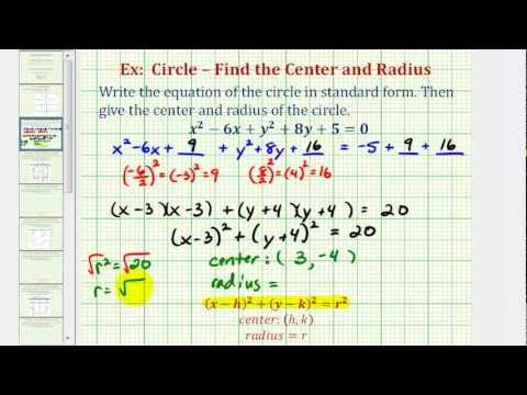 Ex 1 Write General Equation Of A Circle In Standard Form Math