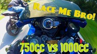 9. STREET RACE - Yamaha R1 vs Suzuki GSXR750