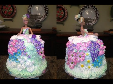 Barbie Doll Cake How to decorate a Barbie Doll/Princess Cake with icing- flowers