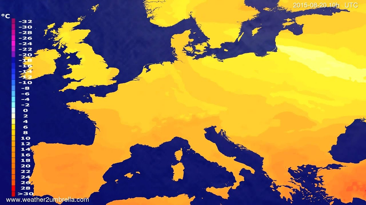 Temperature forecast Europe 2015-08-18