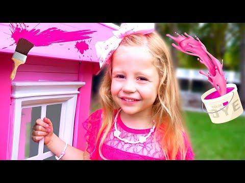 Nastya oyun evini pembe renkte boyar ve kuşlar için evler inşa eder