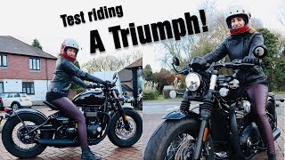 9. Test riding a Triumph Bobber | All About Holly