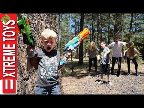 Nerf Zombie Attack! The Wild Undead Vs. Ethan and Cole Nerf Zombie Blaster Battle! (видео)