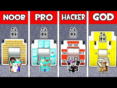Minecraft NOOB vs PRO vs HACKER vs GOD : FAMILY ELEVATOR BATTLE in Mnecraft !
