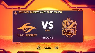 Team Secret vs Team Empire, MDL Disneyland® Paris Major, bo3, game 1 [Ark & Mila]