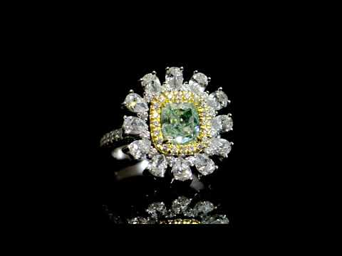 經GIA鑑定2.01克拉彩淡黃綠鑽石戒指