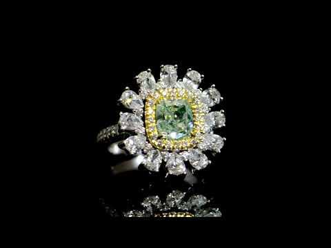 GIA Certified 2.01ct Fancy Light Yellowish Green Diamond Ring