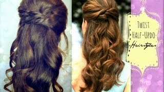 ★CUTE HAIRSTYLES HAIR TUTORIAL WITH TWIST-CROSSED CURLY HALF-UP UPDOS PONYTAIL FOR MEDIUM LONG HAIR - YouTube
