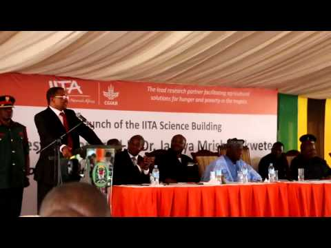 IITA - President Jakaya Mrisho Kikwete makes his speech when officially opening the Science Building of the International Institute of Tropical Agriculture (IITA) a...