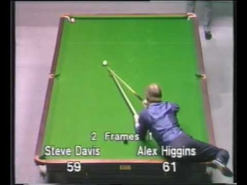 Unusual shot by Alex Hurricane Higgins to beat Steve Davis - Snooker