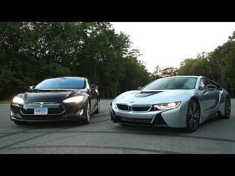 tesla - The BMW i8 is a sleek and sexy hybrid. The Tesla Model S is an all-electric powerhouse. What happens when these two titans are matched head-to-head?