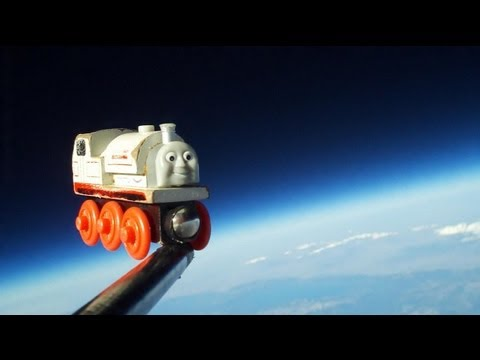 0 A toy train in space