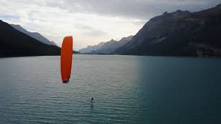 Amazing scenery on lake Silvaplana. Where normaly 100-150 kiters share the lake, the hydrofoilers find peace and empty space ...