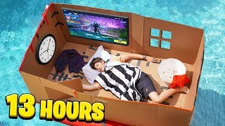 I Spent 24 HOURS on a CARDBOARD Box BOAT...
