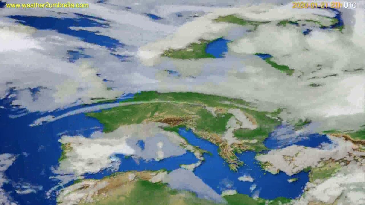 Cloud forecast Europe // modelrun: 12h UTC 2020-01-20