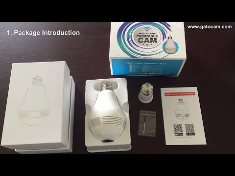 360° Wifi Fish Eye Panoramic Camera Bulb camera Test video
