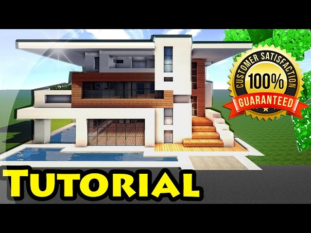 Minecraft easy modern house mansion tutorial 4 download 1 for Modern house music