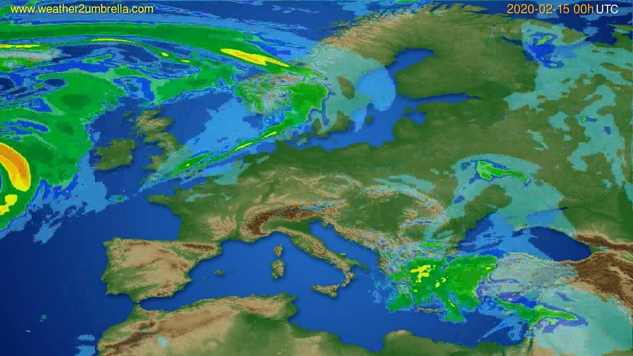 Radar forecast Europe // modelrun: 12h UTC 2020-02-14