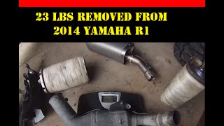 10. 2014 Yamaha R1 Removed Catalytic Converter Dual Exhaust Weight Savings