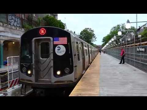 MTA New York City Subway : Ditmars Blvd Bound Siemens R160B N Train @ Bay Parkway (видео)