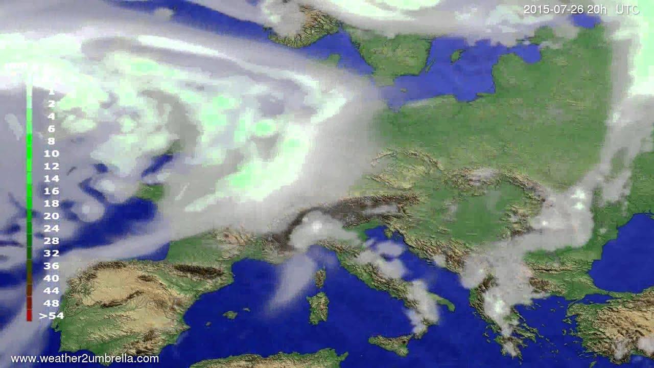 Precipitation forecast Europe 2015-07-23