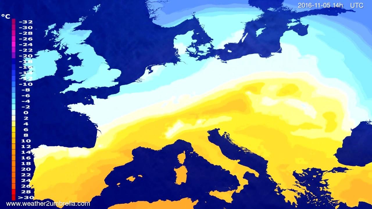 Temperature forecast Europe 2016-11-01